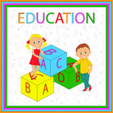 Concept education. Children,boys, girl and cubes with letters, illustration, vector Stock Image