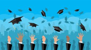Concept of education. College, university ceremony. Hands of graduates throwing graduation hats in the air. Concept of education. College or university ceremony Royalty Free Stock Image