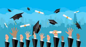 Concept of education. College, university ceremony. Hands of graduates throwing graduation hats and diplomas in the air. Concept of education. College or vector illustration