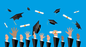 Concept of education. College, university ceremony. Hands of graduates throwing graduation hats and diplomas in the air. Concept of education. College or royalty free illustration