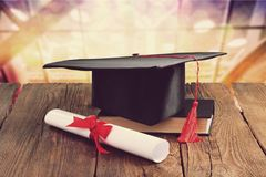 Concept of education. University education college degree higher science royalty free stock images