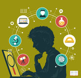 Concept education infographics. The concept of choosing a future profession. Icons education. Silhouette of a boy with a laptop surrounded by icons of education vector illustration