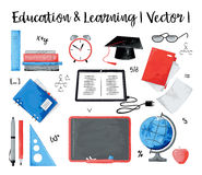 Concept of education and learning. Modern watercolor design vector illustration, concept of education and learning Stock Image
