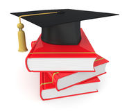 Concept of education. One academic cap or mortarboard with a stack of books, concept of education (3d render Royalty Free Stock Photos