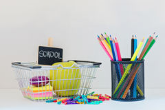 Concept of education. Shopping Back to School Stock Images