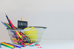 Concept of education. Shopping Back to School Royalty Free Stock Photos