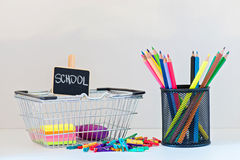 Concept of education. Shopping Back to School Stock Photo