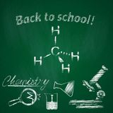 Concept of education. Subject of lesson chemistry. School background with geometric drawing and hand drawn elements for design stock illustration