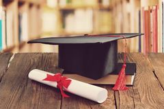 Concept of education. University education college degree higher science stock photo