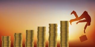 Concept een ambitieuze mens die door een fortuin te verzamelen alvorens omhoog te beëindigen failliet gaand rijk wordt royalty-vrije illustratie