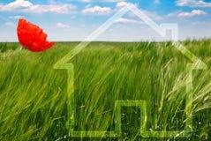 Concept een ecologisch huis stock foto's