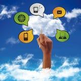 Concept een wolk gegevensverwerking Stock Afbeeldingen