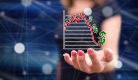 Concept effectenbeursneerstorting stock afbeelding