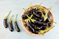 Concept with eggplants Stock Photo