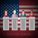Concept of election debates. Or press conference. US Presidential election 2016. Flat design, vector illustration Royalty Free Stock Photo