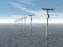 Concept electric power lines and blue sky Stock Photo