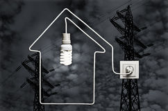 The concept of electricity supply houses. The image concept of electricity supply houses Stock Images