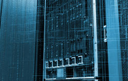 Concept of electronic data and blade storage supercomputer of modern data center. binary code Stock Photography