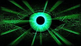 Concept of electronic eye in Matrix, technologies global surveillance, hacking of computer systems and networks