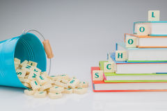 Concept for elementary school subjects. Letters book Stock Photo