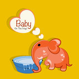Concept of elephant with water tub and speech bubble. Royalty Free Stock Images