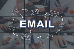 Concept of email. Email concept illustrated by pictures on background royalty free stock photos