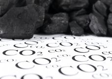 Concept for emission of carbon dioxide, co2 coal. Carbon dioxide emissions control concept royalty free stock photo