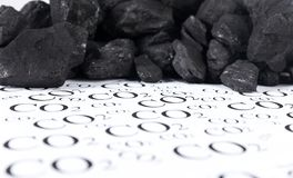 Concept for emission of carbon dioxide, co2 coal. Carbon dioxide emissions control concept stock photography
