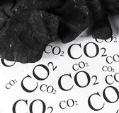 Concept for emission of carbon dioxide, co2 coal. Carbon dioxide emissions control concept royalty free stock photography