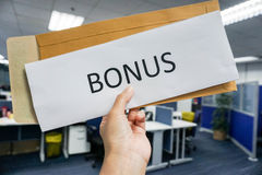 Concept of employee bonus. Concept of employee yearly bonus royalty free stock photography
