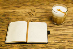 Concept empty notebook plan coffee Stock Photography