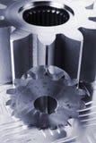 Concept en acier dans le bleu Photographie stock