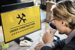 Concept en construction d'icône de panneau d'avertissement Photo stock