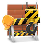 Concept en construction de vecteur avec des briques Illustration de Vecteur
