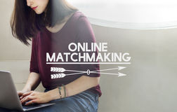 Concept en ligne assorti en ligne de relation de datation en ligne Image stock