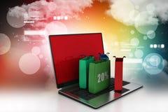 Concept en ligne d'achats avec l'ordinateur portable illustration libre de droits