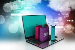 Concept en ligne d'achats avec l'ordinateur portable Photographie stock libre de droits