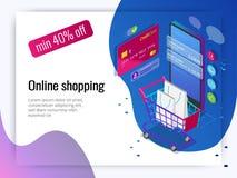 Concept en ligne d'achats de téléphone intelligent isométrique Magasin en ligne, icône de caddie Commerce électronique Photos libres de droits