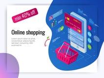 Concept en ligne d'achats de téléphone intelligent isométrique Magasin en ligne, icône de caddie Commerce électronique Photographie stock libre de droits