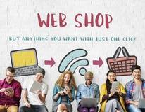 Concept en ligne d'achats en ligne de boutique de Web d'achats image libre de droits