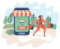 Concept en ligne d'achats et de consommationisme illustration stock