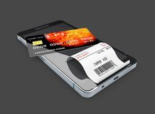 Concept en ligne d'achats Smartphone avec la carte de crédit 3d illustration, noir d'isolement Images stock