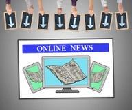 Concept en ligne d'actualités sur un tableau blanc Image libre de droits