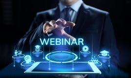 Concept en ligne d'affaires d'éducation de séminaire d'apprentissage en ligne de Webinar photographie stock