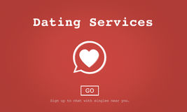 Concept en ligne d'application de datation de services de datation Image stock