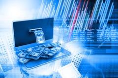 Concept en ligne d'argent avec le diagramme de marché boursier Photos libres de droits