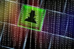 Concept en ligne d'articles d'espion photographie stock libre de droits