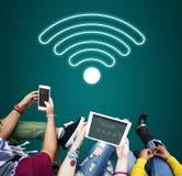 Concept en ligne d'icône de communication de Wifi de réseau Images stock