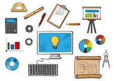 Concept en ligne d'inspiration, d'idée et de recherches Photos stock