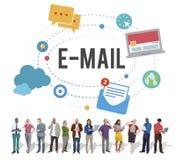 Concept en ligne d'Internet de connexion de télécommunications mondiales d'email Image libre de droits